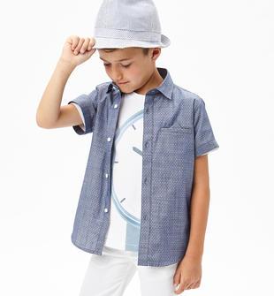 Camicia a manica lunga in elegante tessuto jacquard sarabanda NAVY-3854
