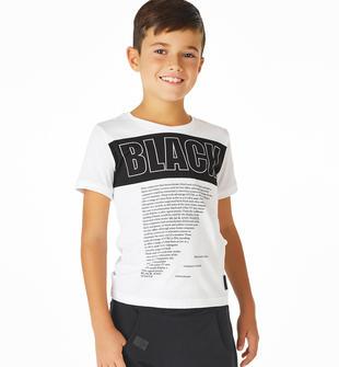 T-shirt mezza manica per bambino in tessuto 100% cotone sarabanda BIANCO-0113