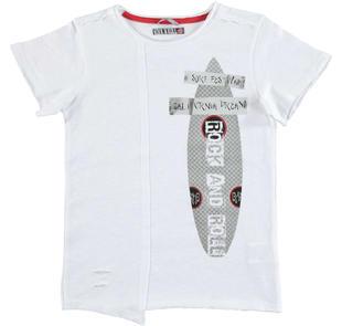 T-shirt in jersey fiammato 100% cotone modello rap sarabanda BIANCO-0113