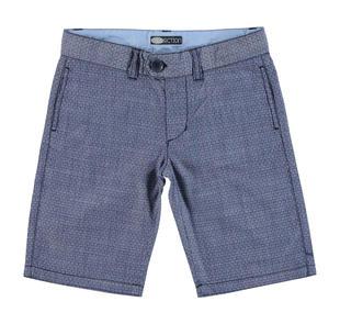 Pantalone corto per bambino in tessuto jacquard 100% cotone sarabanda NAVY-3854