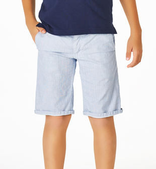 Pantalone corto slim fit in elegante tessuto operato di cotone sarabanda AVION-3614