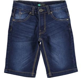 Pantalone corto bambino slim fit in denim stretch effetto delavato sarabanda BLU-7750