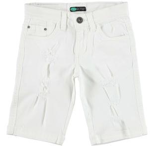 Pantalone slim fit in twill stretch di cotone arricchito da strappi sarabanda BIANCO-0113