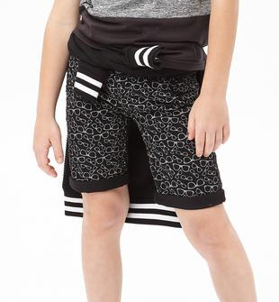 Pantalone corto in twill stretch di cotone con motivo occhiali sarabanda GRIGIO-NERO-6CE6