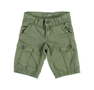 Pantalone corto per bambino modello cargo 100% cotone sarabanda VERDE-4752