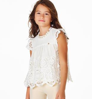 Elegante blusa per bambina realizzata in voile ricamato sarabanda PANNA-0112