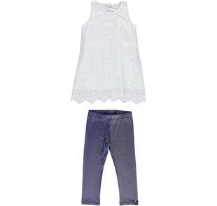 Completo bambina con maxi canotta in tulle e leggings glitterati sarabanda BIANCO-0113