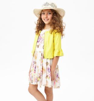 Elegante vestito in chiffon floreale per bambina sarabanda PANNA-MULTICOLOR-6CF3