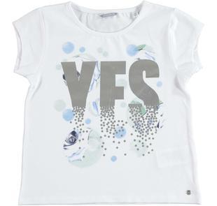 Allegra e romantica t-shirt bambina in cotone stretch sarabanda BIANCO-0113