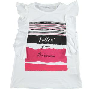 T-shirt in viscosa con volant sarabanda BIANCO-0113