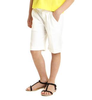 Pantaloncino in satin stretch di cotone sarabanda BIANCO-0113