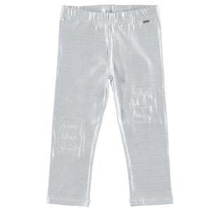Leggings glitterati in cotone con strappi arricchiti da toppe in pizzo sarabanda BIANCO-ARGENTO-8604