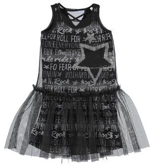 Trendy e alla moda vestitino due pezzi in cotone stampa all over sarabanda NERO-BIANCO-6CG2