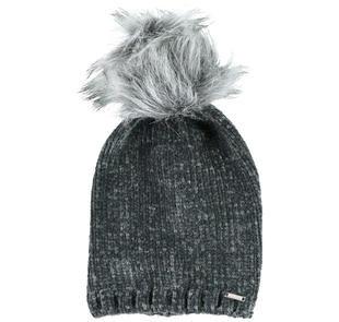 Cappello in ciniglia con particolare pom pon sarabanda GRIGIO-0567