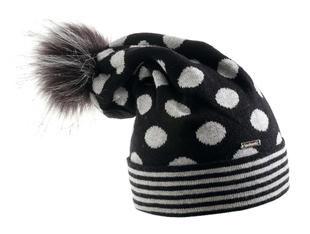Cappello modello cuffia a righe e pois con pom pon sarabanda GRIGIO SCURO-0654