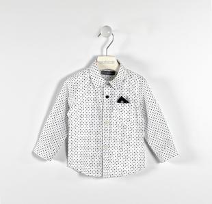 Camicia in popeline stretch fantasia pois sarabanda BIANCO-BLU-6ET1