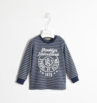 Maglietta a manica lunga 100%cotone fantasia rigata stampa rilievo sarabanda NAVY-3854