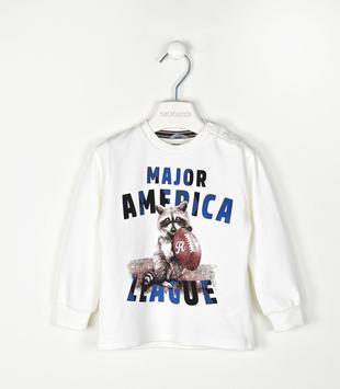 T-shirt manica lunga 100% cotone con orsetto lavatore sarabanda PANNA-0112