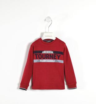 Maglietta girocollo stampa rugby 100% cotone sarabanda ROSSO-2536