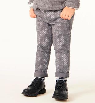 Elegante pantalone in twill stretch fantasia pois sarabanda GRIGIO-GRIGIO-6ES9