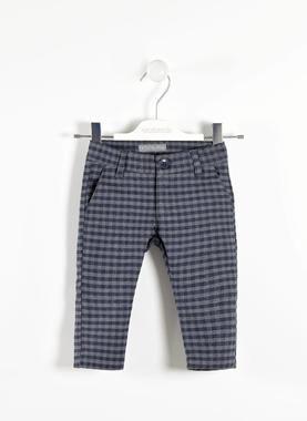 Elegante pantalone fantasia quadrettata sarabanda GRIGIO SCURO-3827