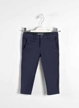 Raffinato pantalone in speciale tessuto sarabanda NAVY-3854