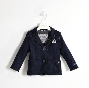 Elegante giacca in maglia con pochette removibile sarabanda NAVY-3854