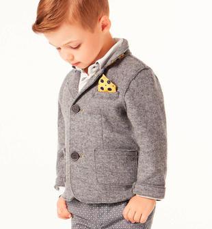 Elegante giacca in maglia con pochette removibile sarabanda GRIGIO MELANGE-8867