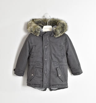 Giubbotto modello parka foderato eco pelliccia sarabanda GRIGIO-0567