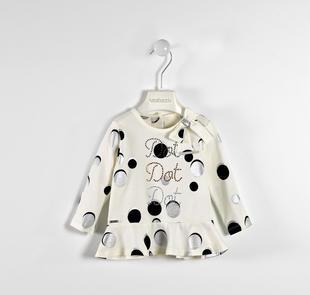 Maxi maglietta a pois e strass sarabanda PANNA-NERO-6ES6