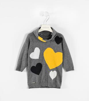Mini abito in tricot con paracollo sarabanda GRIGIO MELANGE-8993