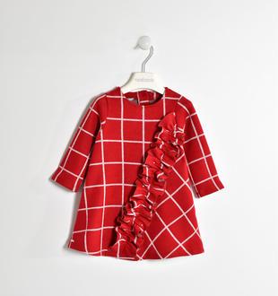 Vestito effetto tricot fantasia quadro con ruches sarabanda ROSSO-2253