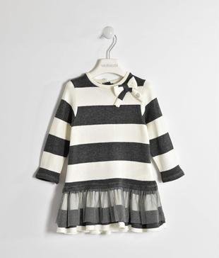 Vestito fantasia rigata effetto tricot con balza lurex sarabanda PANNA-0112