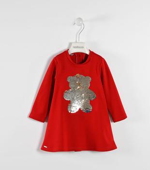 Vestito in punto milano con orsetto di paillettes sarabanda ROSSO-2253
