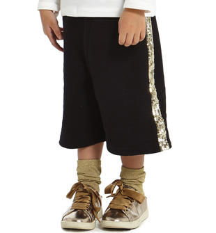 Pantalone modello gaucho con tulle e paillettes sarabanda NERO-0658