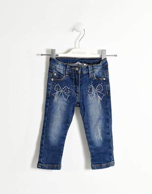 Jeans slim fit con fiocchi di strass sarabanda STONE WASHED-7450