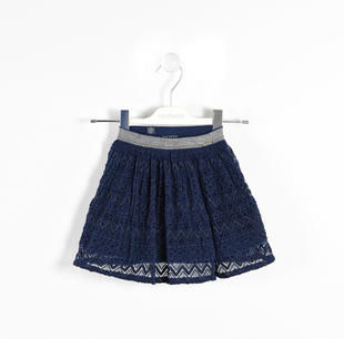 Gonna ricamata con elastico lurex sarabanda NAVY-3854