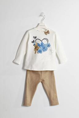 Completo con maglietta e leggings glitter effetto scamosciato sarabanda ORO-1154