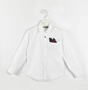 Classica camicia in popeline piccoli pois con pochette sarabanda BIANCO-0113