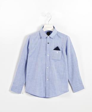 Camicia con micro losanghe 100% cotone sarabanda NAVY-3554