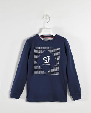 Maglietta 100% cotone con stampa in rilievo sarabanda NAVY-3854
