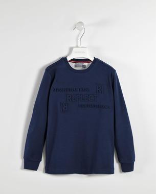 Maglietta girocollo 100% cotone con particolare stampa in rilievo sarabanda NAVY-3854