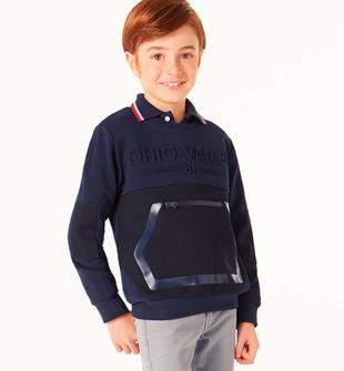 Maglietta girocollo con particolare stampa e finta tasca con zip sarabanda NAVY-3854
