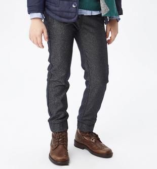 Pantalone in twill rifinito in punto milano sarabanda NAVY-3854
