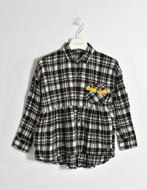 Camicia a quadri per bambina sarabanda NERO-0658