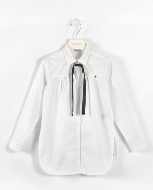 Camicia con fiocco in velluto sarabanda BIANCO-0113