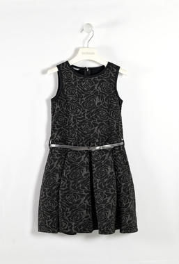 Raffinato vestitino smanicato con filo lurex sarabanda NERO-0658