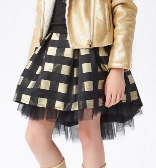 Elegante gonna tessuto motivo vichy nero e oro sarabanda NERO-ORO-8398