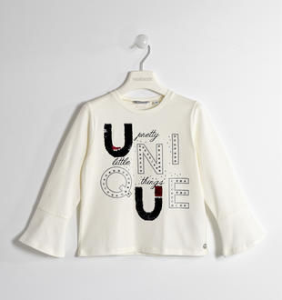 Maglietta con maniche a campana sarabanda PANNA-0112
