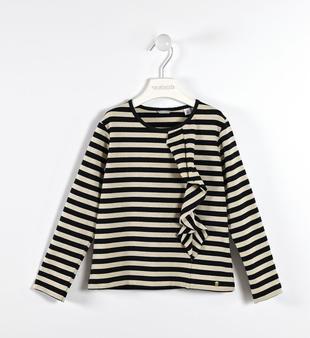 Maglietta chic a righe con rouche sarabanda NERO-0658